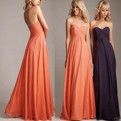 plus size Coral Colored Bridesmaid Dresses Long Chiffon wedding guest dresses purple green blue Cheap Bridesmaid Dress under $50