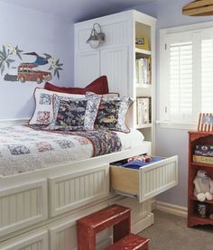 Built in storage bed. Add trundle to very bottom for guests