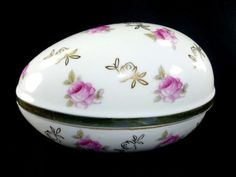 Egg Trinket Box Norleans Porcelain China PInk by ChromaticWit