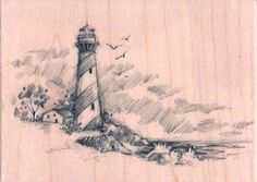 New Sketches Inkadinkado Rubber Stamp Lighthouse Sea XL | eBay