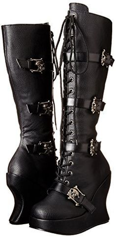 Black vegan leather lace-up knee boots 5 inch platform heel boots Skull strap accents Full inside zip closure for easy on/off [[starttab]] Shoe Sizing Chart Order your USA size USA SHOE SIZEEUUKMEXICO