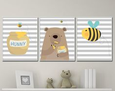 Every bear loves honey and kids love bears! Baby Boy Nursery Art Print, Bear and Bee Nursery Art Suits Yellow Grey Nursery and Bedroom Elephant Decor- H123 This listing is for 3 art prints only - frame not included. These prints are professionally printed on high quality heavyweight matte