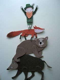 Paper puppets by Lenka Křikavová ~ Great illustration for folktales.