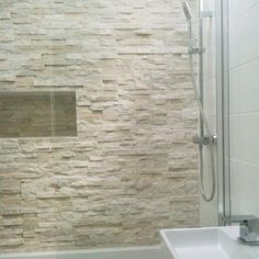 Love white stacked stone feature wall tiles