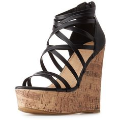 Charlotte Russe Strappy Cork Wedge Sandals ($25) ❤ liked on Polyvore featuring shoes, sandals, cork sandals, wedge heel sandals, platform wedge sandals, black sandals and criss cross wedge sandals