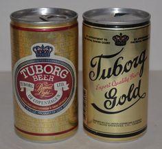 Vintage Tuborg Beer Cans Gold Pull Tab 12 Fl.Oz. Aluminum  #Tuborg