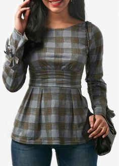 Tie Sleeve Open Back Plaid Blouse on sale only US$30.95 now, buy cheap Tie Sleeve Open Back Plaid Blouse at Rosewe.com