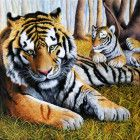 Original North Korean Oil Painting tiger animal mother love By li zhi cheng First-Class artists born in Pyongyang graduated from Pyongyang Art university specialized in oil painting work in Mansudae Cute Embroidery, Japanese Embroidery, Embroidery Stitches, Embroidery Patterns, Floral Embroidery, Pet Tiger, Embroidery Techniques, Art Club, Craft Patterns