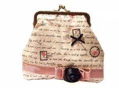 Bolso vintage letras tela lino cierre boquilla