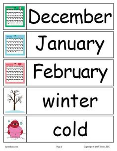 FREE Winter Word Wall Words: December, January, February, winter, cold. Get all 30 winter words for your winter word walls for free here --> https://www.mpmschoolsupplies.com/ideas/7887/30-free-winter-word-wall-words/