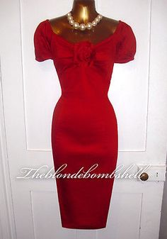 Sirens & Starlets Vintage 50s Repro Wiggle Rockabilly Pinup Dita Rose Dress UK16