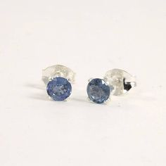 Blue Sapphire stud earrings Sterling silver tiny studs 4mm