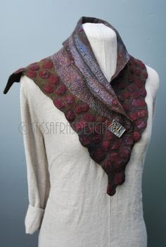 Extraordinary hand felted scarf/collar/cowl wearable art
