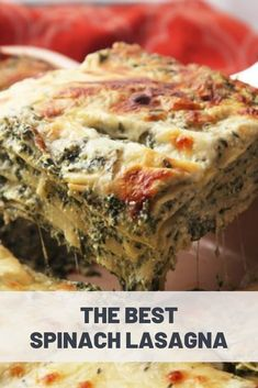 The Best Spinach Lasagna Recipe Vegetable Lasagna Recipes, Veggie Recipes, Pasta Recipes, Vegetarian Recipes, Cooking Recipes, Healthy Recipes, Vegi Lasagna, Best Vegetarian Lasagna, Vegetarian