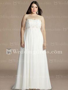 Maternity Chiffon Empire Plus Size Wedding Gown PS180