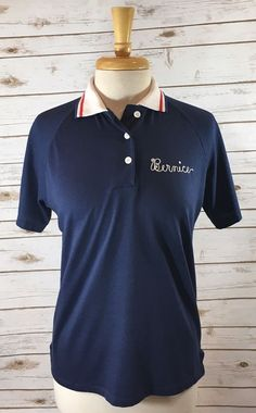 Vtg 80s Navy Blue Polo Shirt Coffee Breakers Diner Chic Bernice Womens Large  | eBay