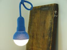 Lampe 1, pendant lamp and 3 meter cord with plug, crocheted in royal blue etaussi etsy