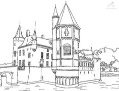 Complex realistic castle coloring pages for adults | Coloring ...