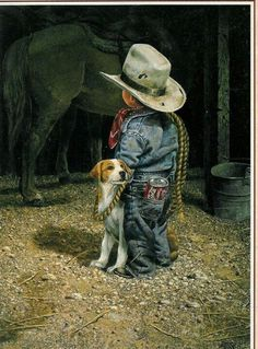 Looks as if 'The Cowboy' lassoed him a cute puppy