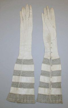Stripes of leather and Lace evening Gloves - c. 1900 - by Bertin, Paris - @Mlle
