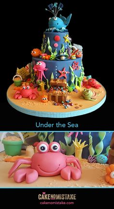 Under the Sea. A very bubbly birthday cake! Chocolate sponge and peanut butter flavoured whipped chocolate ganache. So bright and cheerful -  I loved every minute of making this... would love to make this again...