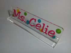 Personalized teacher gift acrylic desk name by thecraftgiraffe, $12.00