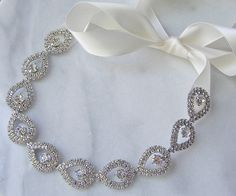 Rhinestone Bridal Headband, Rhinestone Wedding Head Piece, Rhinestone Headband - LUNA. $78.00, via Etsy.