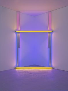 """Untitled (To Barnett Newman To Commemorate His Simple Problem, Red, Yellow And Blue)"" Dan Flavin Date: 1970 Style: Minimalism Genre: installation Barnett Newman, 1970 Style, Dan Flavin, Dimensional Shapes, Arts Integration, National Gallery Of Art, True Art, Light Installation, Elements Of Art"