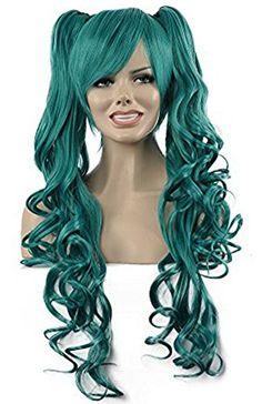 Diy-Wig Beautiful Dark Green Long Curly Two Clips Ponytai…
