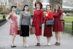Brights: These women wore brightly coloured outfits, red seemed to be a popular colour dur...