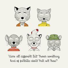The characters of Wes Anderson, unejolie série d'illustrations rendant hommage aux personnages cultes du réalisateurWes Anderson, de M. Gustave (Grand Bud