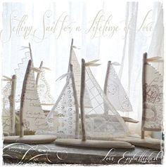 "25 MEDIUM 6"" - 7"" Driftwood Wedding Beach Decor Sailboats Antique Lace Sails Beachside Lakeside Wedding Favors"