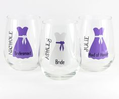 Personalized Stemless Wine Glasses, Unique Wine Glasses, Wedding Wine Glasses, Personalized Wedding, Bridesmaid Gifts, Bridal Gift, Toasting by HeathersWilde on Etsy