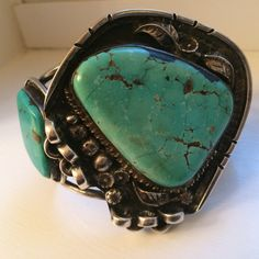 Massive old pawn Indian turquoise sterling cuff bracelet by TopShelfTampa on Etsy