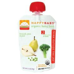Happy Baby Organic Baby Food 2 Simple Combos Broccoli Peas Pear 3.5-Ounce Pouches (Pack of 16)