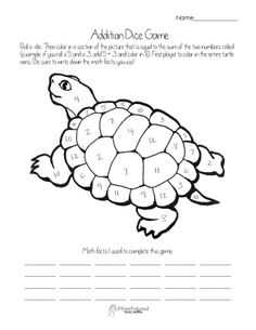 Addition dice game- turtle