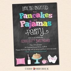 Pancakes and Pajamas Party Invitation Chalkboard by inkberrycards