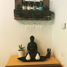 crafting can be so easy ✌️ . Candels, Wine Rack, Diy Home Decor, Diy And Crafts, Diy Projects, Woodworking, Canning, Buddha, Easy Diy