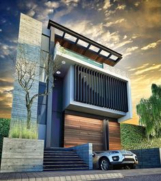 Cancun villa designed by www. Modern House Facades, Modern Architecture House, Modern House Design, Amazing Architecture, Architecture Design, Villa Design, Duplex Design, Modern Exterior, Exterior Design