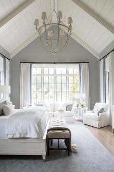 Traditional White Master Bedroom Retreat With Vaulted Ceiling Bedroom Ideas vaulted ceiling Bedroom Retreat, Home Decor Bedroom, Bedroom Furniture, Bedroom Ideas, Bedroom Interiors, Bedroom Curtains, Bedroom Apartment, Luxury Furniture, Diy Bedroom