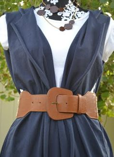 T-shirt turned into dressy vest  no sewing involved!  - 2x your size t-shirt  - specific cut sites  - pair with belt