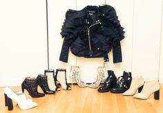 Jacket, Junya Watanabe; Shoes, L to R. Unknown Designer, Alaïa, CHANEL, Alaïa, Balenciaga, Unknown Designer