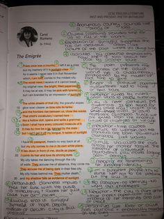 School Organization Notes, School Notes, School Stuff, Life Hacks For School, School Study Tips, The Emigree Poem, Gcse Poetry Anthology, English Literature Poems, Gcse Poems