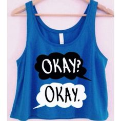 The Fault in Our Stars Etsy Inspiration ❤ liked on Polyvore featuring tops, shirts, crop tops, tank tops, blue crop top, star shirt, cropped tank top, star print top and blue tank