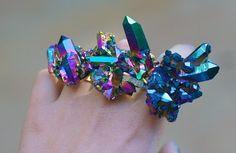 Hologram rainbow quartz cluster ring. WOW!   CustomMade