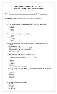 1                 PRUEBA DE MATEMATICA 3° BÁSICO                NUMEROS Y OPERACIONES / FORMA Y ESPACIO                   ...