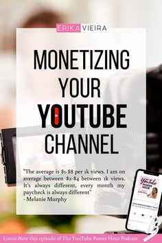 Monetizing your YouTube Channel. Listen to Melanie Murphy talking about growing on YouTube, how she went from 0 to 10ok subscribers in 10 months. Erika Vieira, The YouTube Power Hour Podcast #ErikaVieira #TheYouTubePowerHourPodcast Youtube Hacks, You Youtube, Youtube Editing, Video Editing, Youtube Without Ads, Melanie Murphy, Get Subscribers, Video Channel, Great Videos