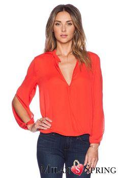Orange V-Neck Cotton Shirt