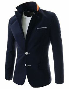 (NIFJ959-NAVY) Mens Slim Fit Single Breasted Notched Lapel Stripe Handkerchief Point 2 Button Blazer