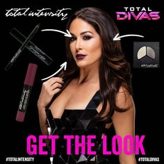 """Brie Bella from Total Divas Makeup: Get the Look Step into Brie Mode with the """"Deepest Black"""" Long Lasting Intense Color Eyeliner, """"Jet Black"""" Beyond Lashes Dramatic Precision Mascara and """"Loud Lips"""" Matte Lip Crayon. Brie Bella Wwe, Nikki And Brie Bella, Matte Eyeshadow, Matte Lips, Nicki Bella, Women's Wrestling, Total Divas, Beauty Care, Hair Beauty"""